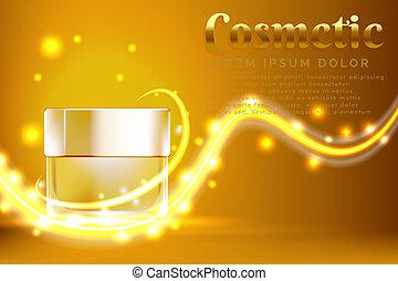 Productos cosméticos de frascos de crema, con un brillante fondo dorado