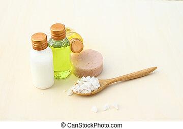 productos, cuerpo, mar, champú, loción, sal, cuidado, jabón