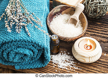 Productos de spa naturales en el fondo de madera