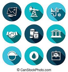 productos, petróleo, venta, colección, icono