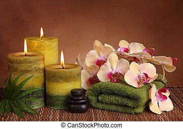 Productos Spa con velas verdes