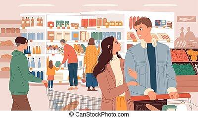 productos, supermercado, elegir, cestas, gente