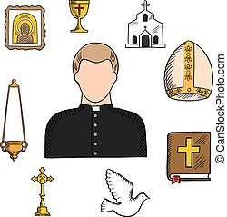 Profesión de sacerdote con símbolos religiosos