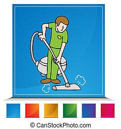 profesional, botón, conjunto, alfombra, limpiador