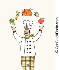 profesional, caricatura, chef, blanco, cocina, chaqueta, restaurante, illustration., alimento, chefs, soñador, expert., sombrero, contorno, gastrónomo, diestro, character., malabarismo, talentoso, cocinero, employee., vector