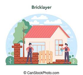 profesional, constructor, ladrillo, albañil, concept., herramientas, construir, pared