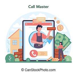profesional, constructor, servicio, albañil, en línea, construir, platform., o