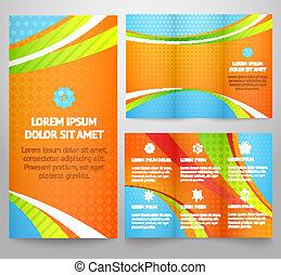 Profesional de tres pliegues de folletos empresariales, folletos corporativos, diseño de portada, impresión. Ilustración de vectores para un divertido y colorido diseño brillante. La distribución triple con olas.