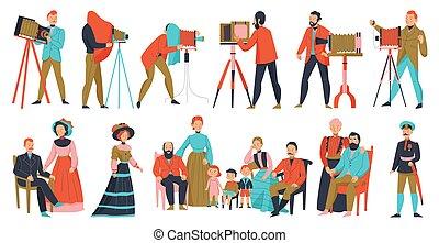 profesional, fotógrafo, conjunto, vendimia
