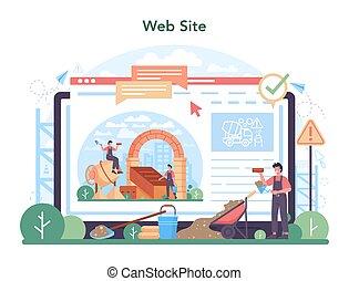 profesional, platform., constructor, construir, servicio, albañil, o, en línea