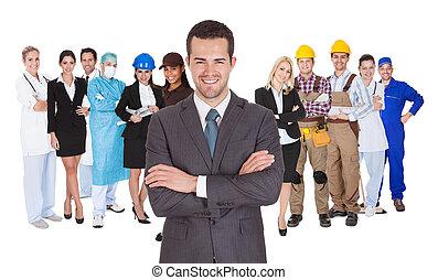 profesiones, diferente, blanco, trabajadores, juntos