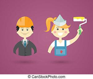 Profesiones, ingeniero y decorador de interiores
