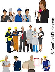 profesiones, trabajadores, ilustración