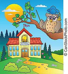 Profesor de búho con edificio escolar