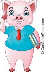 Profesor de cerdo de dibujos animados con libros