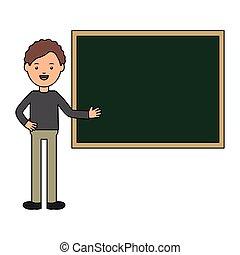Profesor joven con pizarra