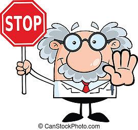 Profesor sosteniendo una señal de alto