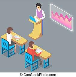 profesor, universidad, estudiantes, utilizar, interactivo, conferencia, profesor, desk., whiteboard, hombre