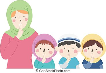 profesor, voz, musulmán, hablar, niños, no, nivel, grupo