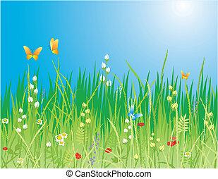 Profundidad de primavera. Flores, mariposas y hierba