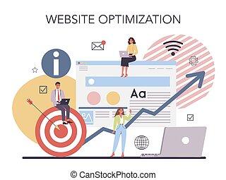 programación, desarrollo, concept., sitio web, optimization