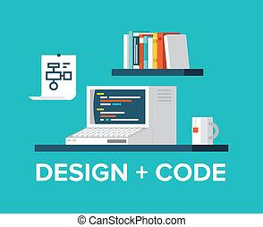 Programación web y diseño con ilustración de computadoras retro
