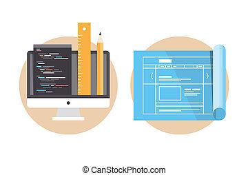 Programación website y iconos de desarrollo