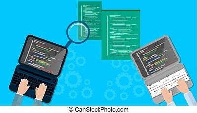 Programación y codificación concepto, desarrollo web, Diseño Web. Ilustración plana