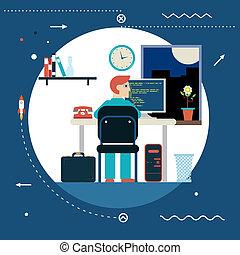 Programación y desarrollo de la web programador de programación de desarrollo trabaja en el icono de la oficina de trabajo en casa con estilo de fondo moderno diseño plano ilustración vectorial de diseño moderno