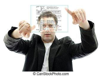 programador, aislado, interface., tacto, trabajando, pantalla, white.