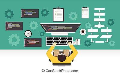 programador, concept., mecanismo, trabajando, development., programación, computer., software