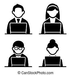 programador, iconos, conjunto