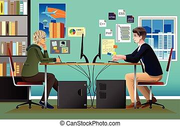 Programador y diseñador trabajando en una oficina
