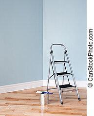 project., habitación, escalera, lata de la pintura, renovación