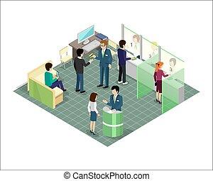 projection., banca, isométrico, vector, servicios