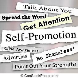 promoción ser, mercadotecnia, titulares, atención, publicidad