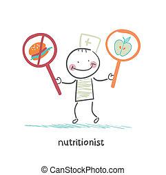promotes, alimento, nutricionista, sano