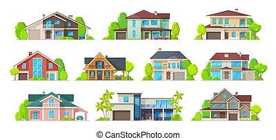 propiedad, edificio, verdadero, hogar, iconos, casa, cabaña