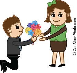 Proponiendo a una chica con un ramo de flores