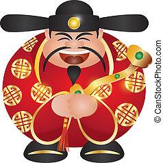 prosperidad, dinero, cetro, chino, dios