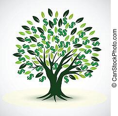 prosperidad, vector, símbolo, árbol