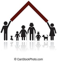 Protección a la familia silueta