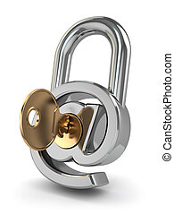 Protección de correo electrónico. Como cerradura y llave.