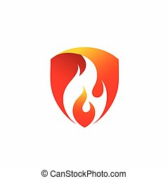 protección de fuego, diseño, logotipo, vector