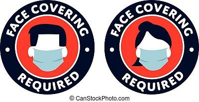 protección, señal, cara cubierta, requerido, iconos, covid-19