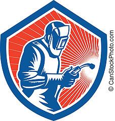 protector, antorcha, retro, fabricator, soldador, lado, soldadura