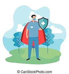 protector, paisaje, súper, paramédico, macho, capa, héroe