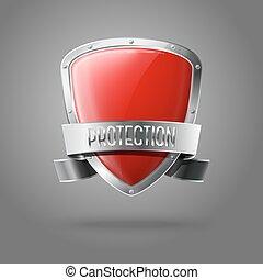 protector, protección, realista, aislado, gris, fondo., vector, brillante, blanco, frontera, plata, cinta, rojo