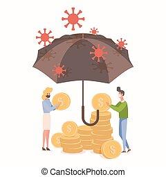 proteger, coronavirus, coins, hombre, vector, ahorros, illustration., hands., gente, epidemia, brote, plano, asimiento, mujer