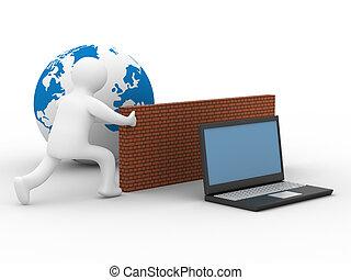 Protegió a la red global de Internet. Imagen 3D.